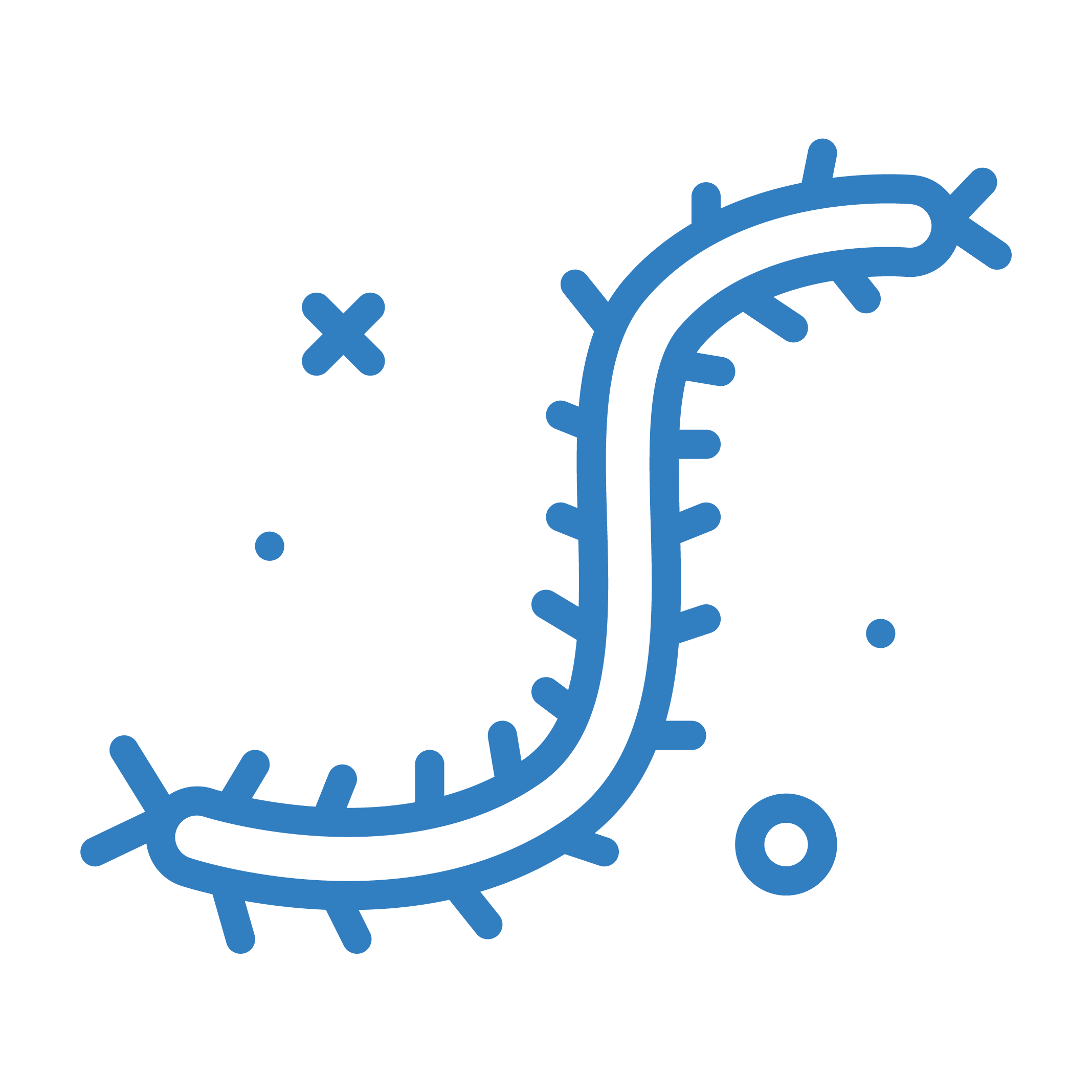 Icona che rappresenta batteri virus e microrganismi